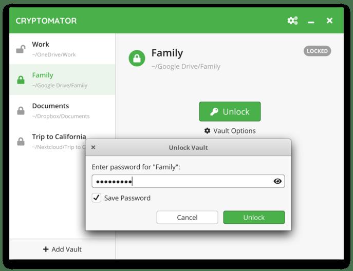 开源Cryptomator 文件加密再同步至各大网盘